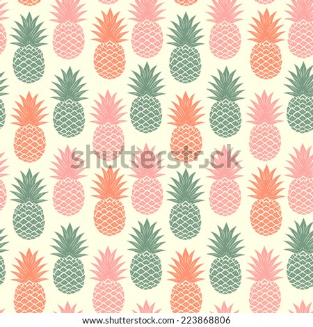 Vintage pineapple seamless for your business - stock vector
