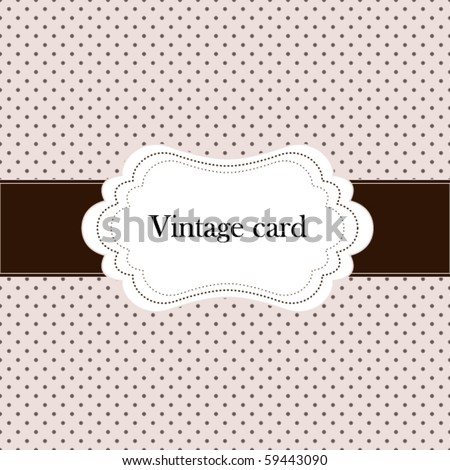 Vintage pink card, polka dot design
