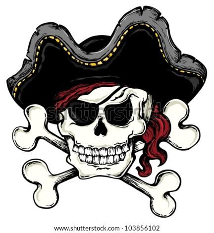 Vintage pirate skull theme 1 - vector illustration. - stock vector