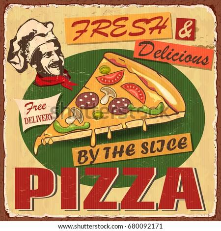 Vintage Pizza metal sign.