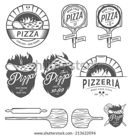 Vintage pizzeria labels, badges and design elements