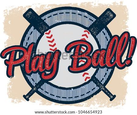 Vintage Play Baseball Sports Graphic