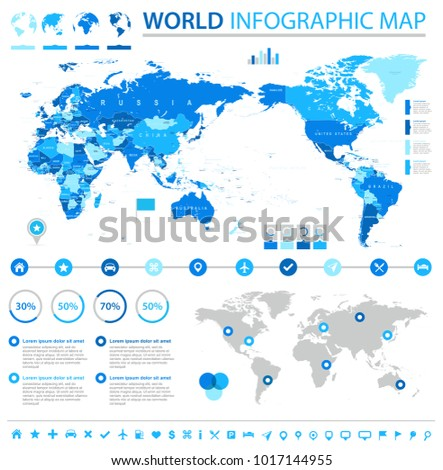 Vintage Political World Map Pacific Centered - Info Graphic vector