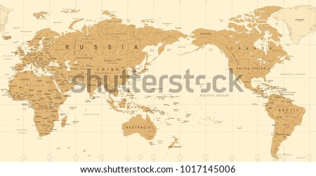 Vintage Political World Map Pacific Centered - vector #1017145006