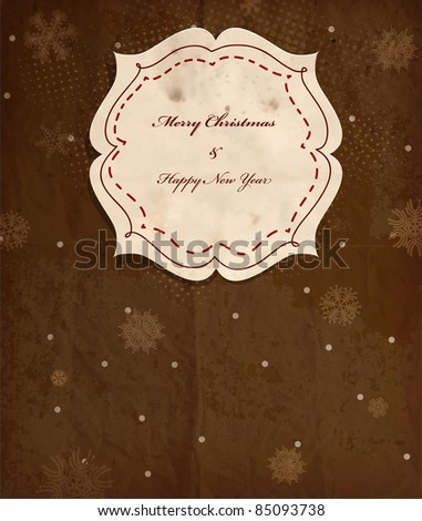 Vintage polka dot card with snowflakes for Christmas invitation, scrap template of worn distressed design