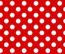 Vintage polka dots white and red pattern, colorful background - vector abstract background