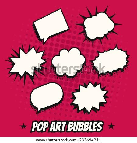 Vintage pop art comics speech bubbles vector set black and white