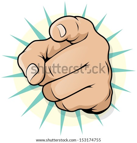 vintage pop art pointing hand
