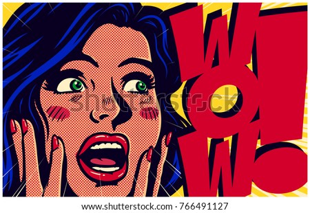 Vintage pop art style comic book panel with surprised and excited woman saying wow looking at something amazing retro vector poster design illustration