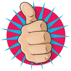 Vintage Pop Art Thumbs Up. Great illustration of pop Art comic book style Thumbs Up gesturing positive satisfaction.