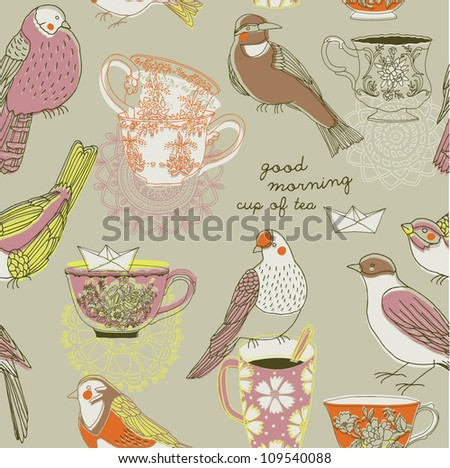 vintage porcelain cups and birds