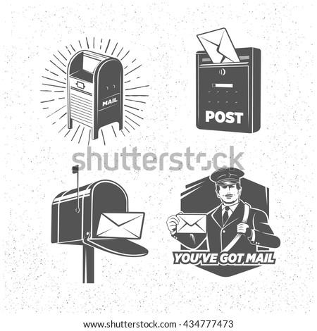 vintage post service icons set  ...