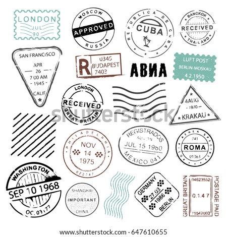 Vintage post stamps collection for mailing letters, wedding invitations or special announcements, decoration and design element. Vector flat style illustration isolated on white background