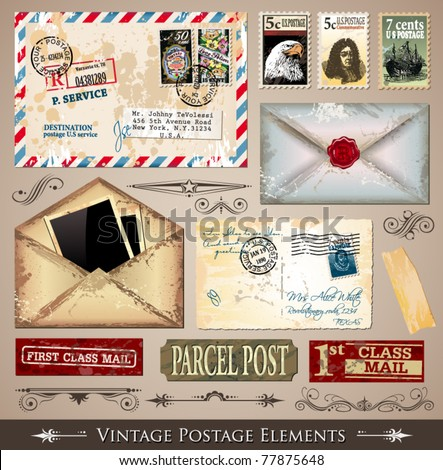 Vintage Postage Design Elements - set of various detailed post stamps and postage illustrations fully editable.