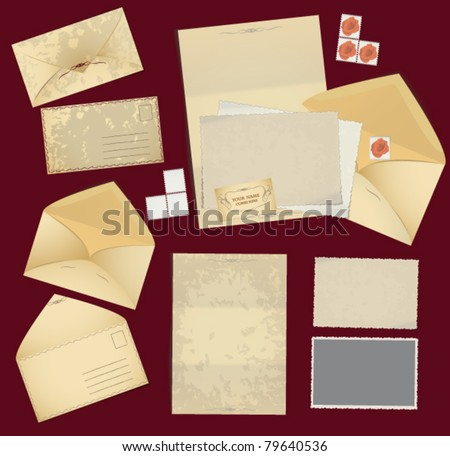Vintage postage elements: envelopes , stamps , photo frames and paper. Corporate identity elements in vintage style