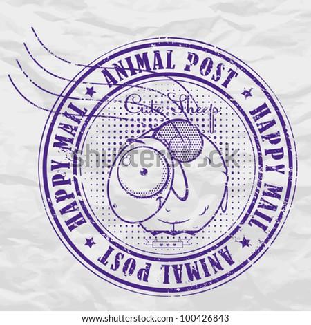 Vintage postage set with cartoon sheep.