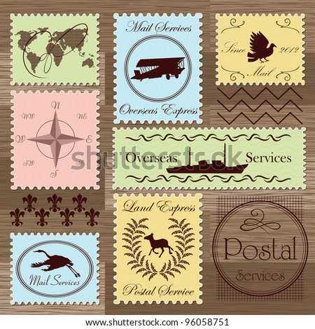 Vintage postage stamps and elements illustration collection background vector