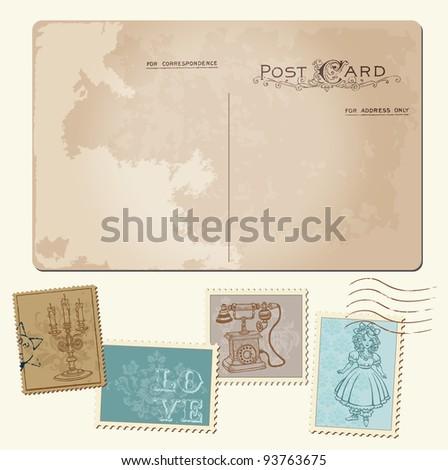 Vintage Postcard and Postage Stamps - for wedding design, invitation, congratulation, scrapbook - stock vector