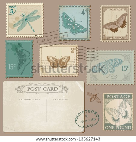 Vintage Postcard and Postage Stamps with Butterflies for wedding design invitation scrapbook