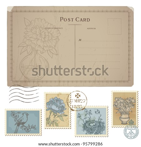 Vintage Postcard and Set of Postage Stamps - with Flower and Birds in vector - stock vector