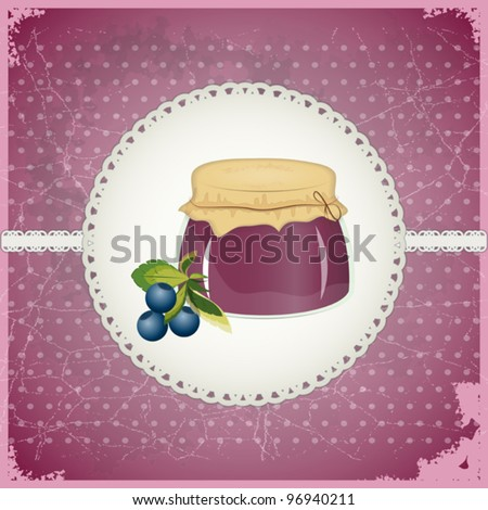 Vintage Postcard - Blueberry Jam on a retro background - vector illustration - stock vector