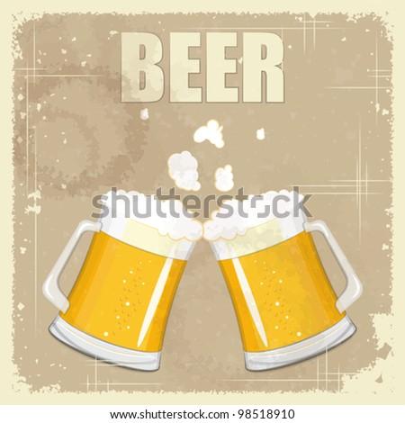 Vintage postcard, cover menu - Beer - Retro style  - vector illustration