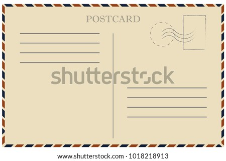 Vintage postcard. Old template. Retro airmail envelope with stamp. Vector