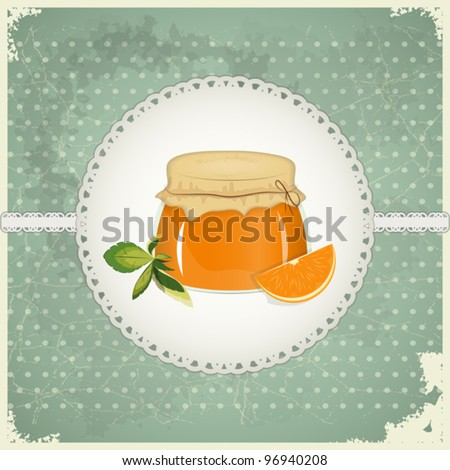 Vintage Postcard - Orange Jam on a retro background - vector illustration
