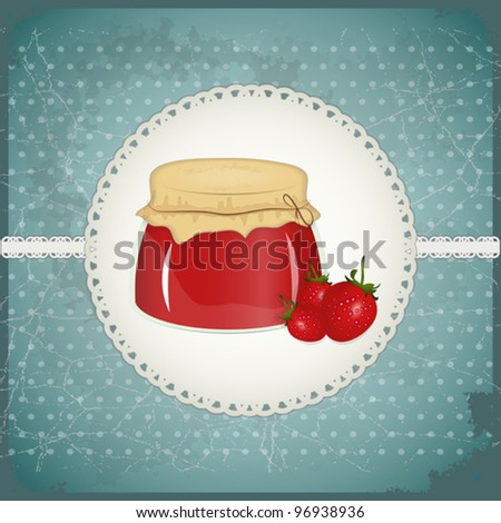 Vintage Postcard - strawberry jam on a retro background - vector illustration