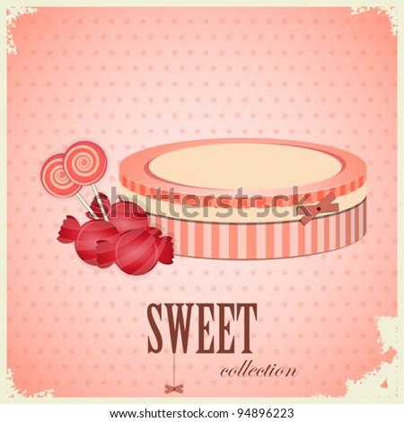 Vintage postcard - Sweet Candy on pink background - vector illustration