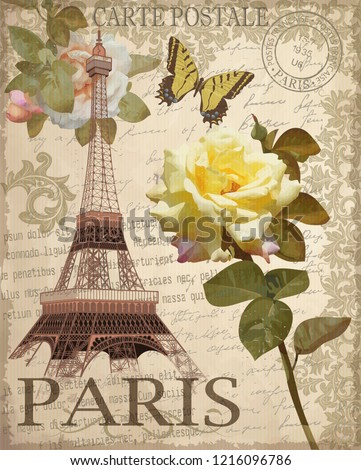 Vintage postcard with Eiffel Tower and roses.