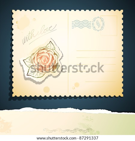 Vintage postcard with rose. Vector background