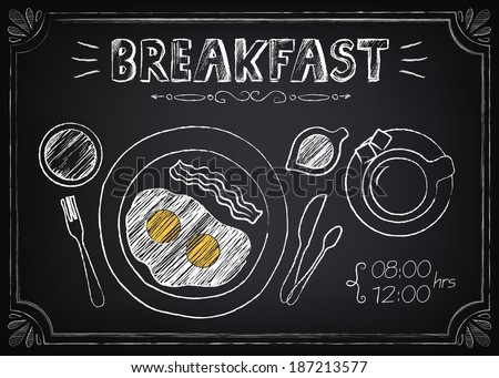 Vintage Poster - Breakfast. Freehand drawing on the chalkboard: fried eggs and coffee