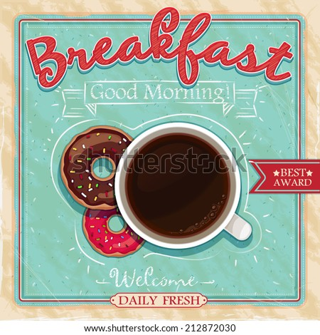 Vintage poster design coffee cakes vector