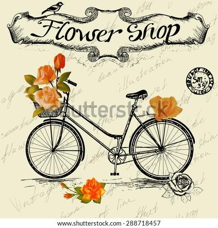 vintage poster for flower shop
