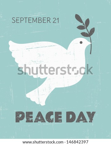 Vintage poster for the International Day of Peace with a dove carrying an olive branch.