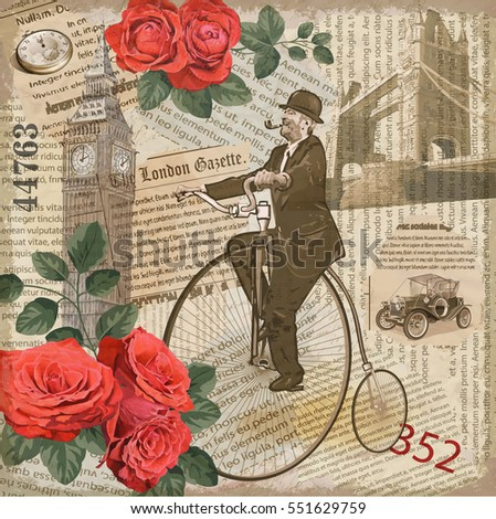 Shutterstock Vintage poster London torn newspaper background.Gentleman riding a bike.