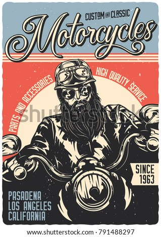 Vintage poster. Motorcycle theme. Rider on the bike.