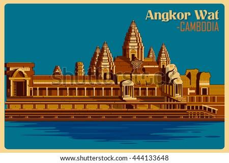 vintage poster of angkor wat