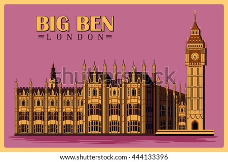 vintage poster of big ben in...