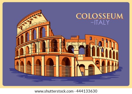 vintage poster of colosseum in...
