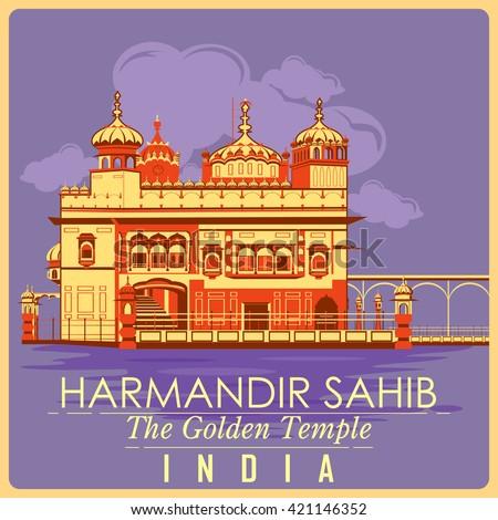 vintage poster of golden temple ...