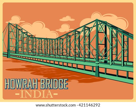 vintage poster of howrah bridge ...