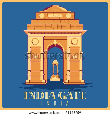 vintage poster of india gate in