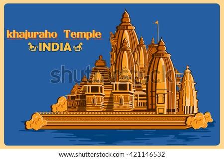 Vintage poster of Khajuraho Temple of Madhya Pradesh, famous monument of India . Vector illustration