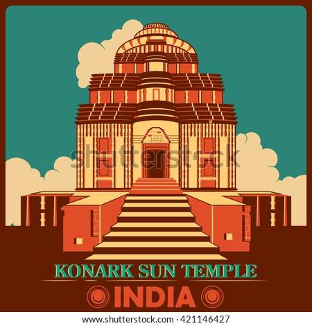 Vintage poster of Konark Sun Temple in Odisha, famous monument of India . Vector illustration