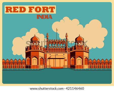 vintage poster of red fort in