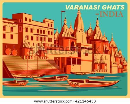 Vintage poster of Varanasi Ghats of Uttar Pradesh, famous place in India . Vector illustration