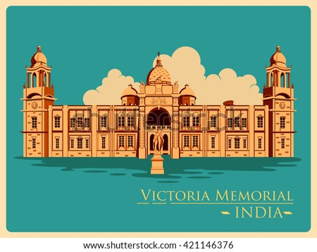 Vintage poster of Victoria Memorial in Kolkata, famous monument of India . Vector illustration