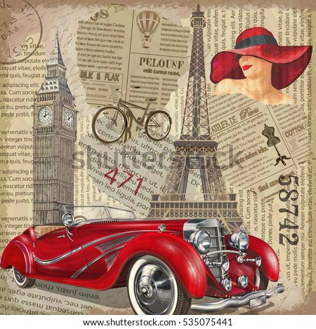 Vintage poster Paris,London torn newspaper background.